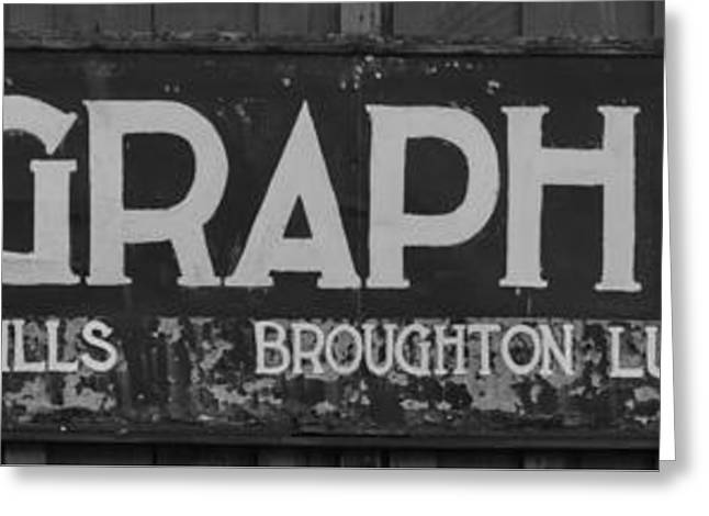 Telegraph Cove Sign Black And White Panorama Greeting Card by Adam Jewell