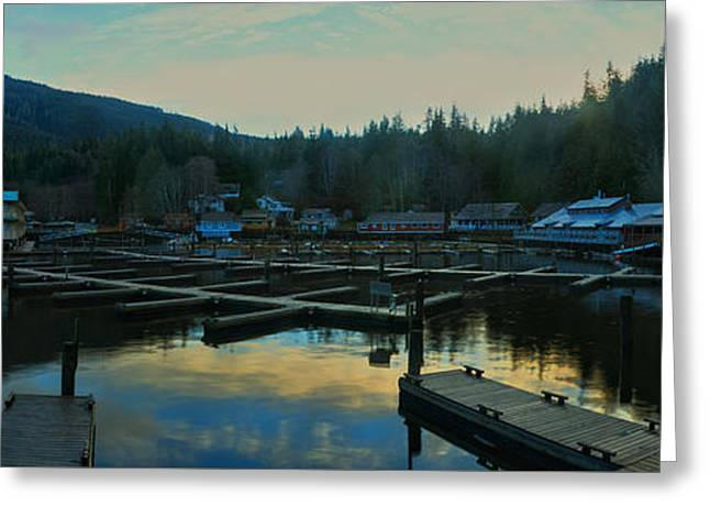 Telegraph Cove Sunset Panorama Greeting Card by Adam Jewell
