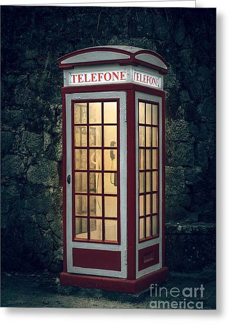 Telephone Booth Greeting Card by Carlos Caetano