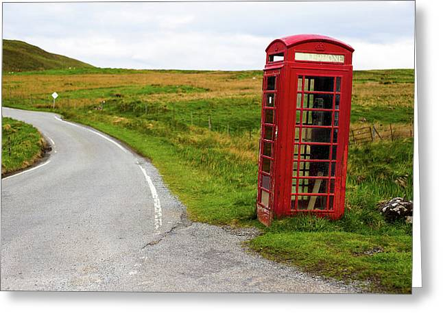 Telephone Booth On Isle Of Skye Greeting Card by Davorin Mance