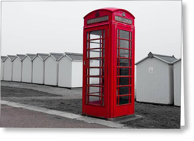 Telephone Box By The Sea I Greeting Card