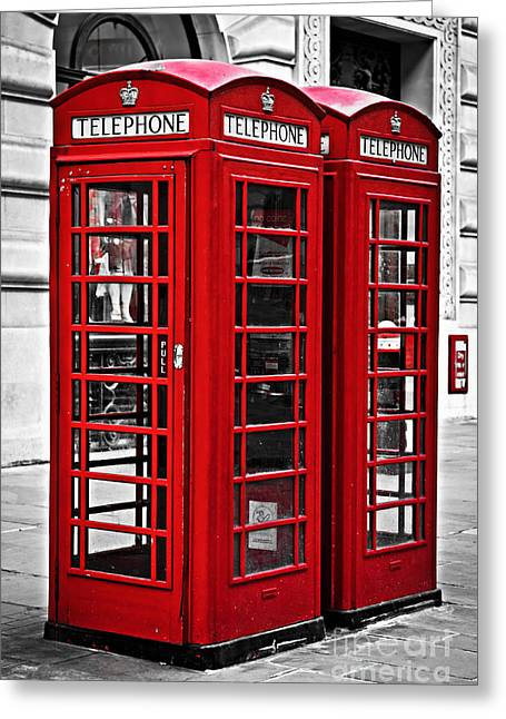 English Greeting Cards - Telephone boxes in London Greeting Card by Elena Elisseeva