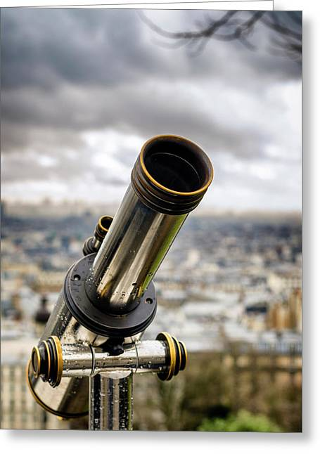 Telescope At The Sacre-coeur Viewpoint Greeting Card