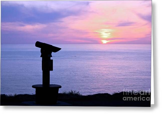 Telescope Sunset Greeting Card by Terri Waters