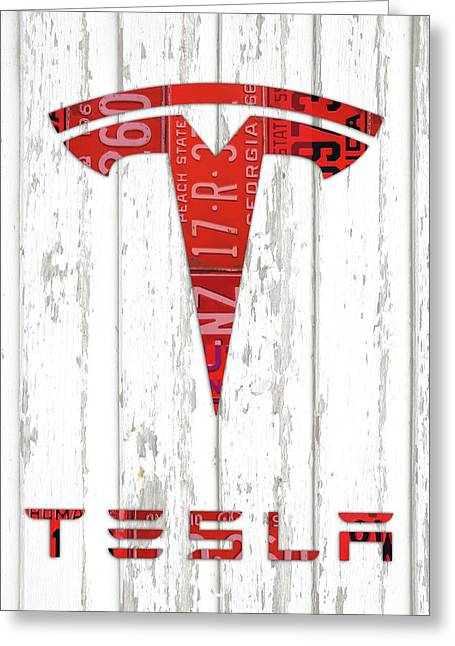 Telsa Logo Vintage Recycled Red License Plates Art On Wood Greeting Card