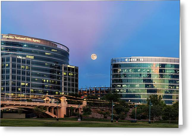 Greeting Card featuring the photograph Tempe Town Lake Moon Rise by Dave Dilli