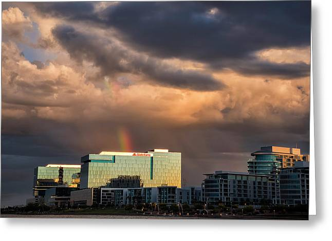 Greeting Card featuring the photograph Tempe Town Lake Rainbow by Dave Dilli