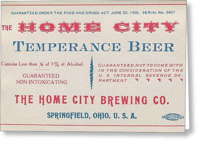 Temperance Beer Label Greeting Card by Tom Mc Nemar