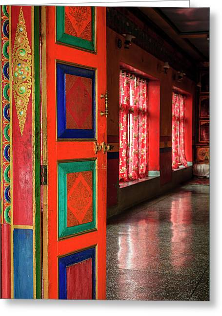 Greeting Card featuring the photograph Temple Door by Alexey Stiop