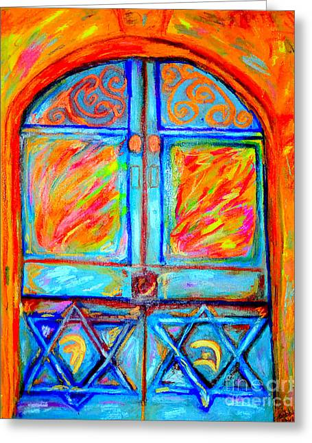 Temple Door Greeting Card by Debbie Davidsohn