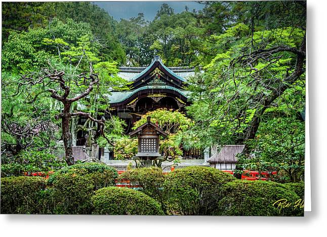 Greeting Card featuring the photograph Temple In The Rain by Rikk Flohr