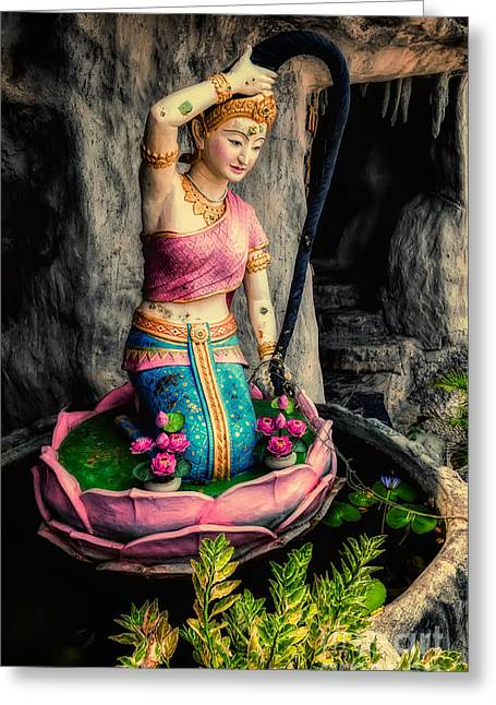 Temple Lady Statue Greeting Card by Adrian Evans