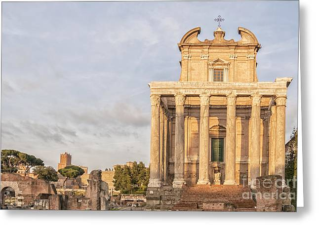 Temple Of Antoninus And Faustina Greeting Card by Antony McAulay