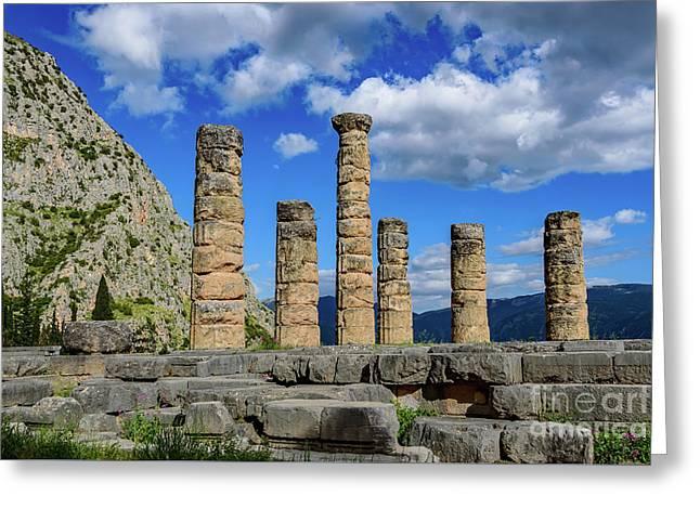 Temple Of Apollo At Delphi, Greece Greeting Card