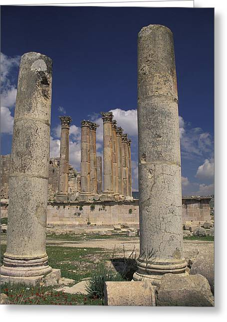 Temple Of Artemis In Jaresh, Jordan Greeting Card by Richard Nowitz
