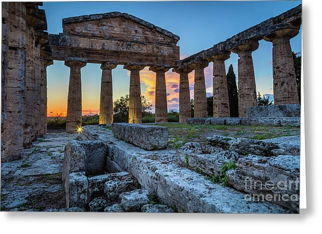 Temple Of Athena By Night Greeting Card by Inge Johnsson