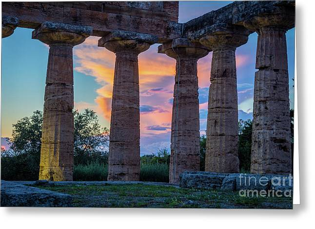Temple Of Athena Columns Greeting Card by Inge Johnsson