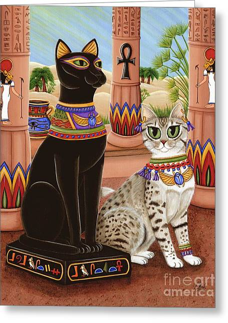 Temple Of Bastet - Bast Goddess Cat Greeting Card by Carrie Hawks