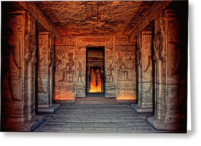 Temple Of Hathor And Nefertari Abu Simbel Greeting Card by Nigel Fletcher-Jones