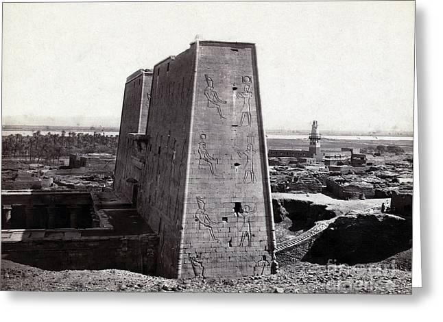 Temple Of Horus At Edfu, 1850s Greeting Card