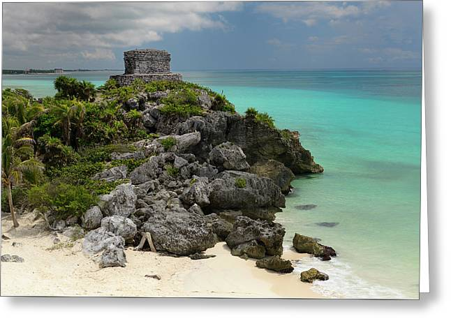 Temple Of The Wind God Kukulcan On A Sea Cliff At Tulum Mexico Greeting Card by Reimar Gaertner