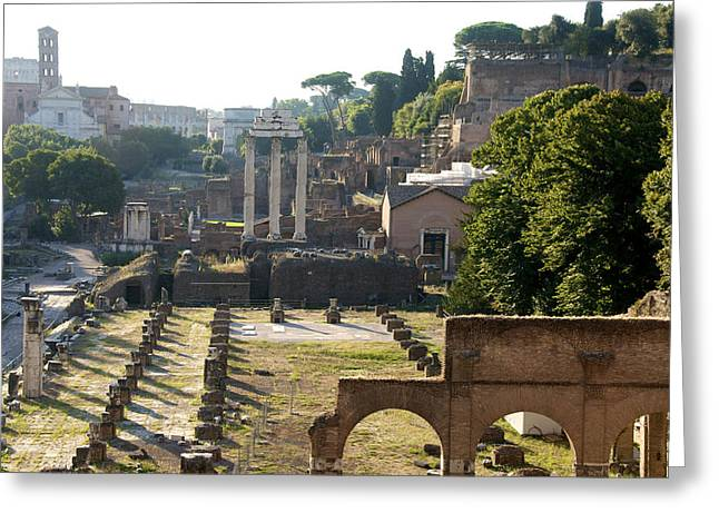 Rundown Greeting Cards - Temple of Vesta. Arch of Titus. Temple of Castor and Pollux. Forum Romanum. Roman Forum. Rome Greeting Card by Bernard Jaubert
