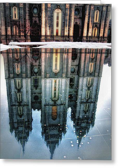 Temple Reflection Greeting Card by Jim Hill