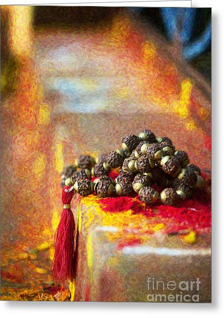 Temple Rudraksha Beads Greeting Card