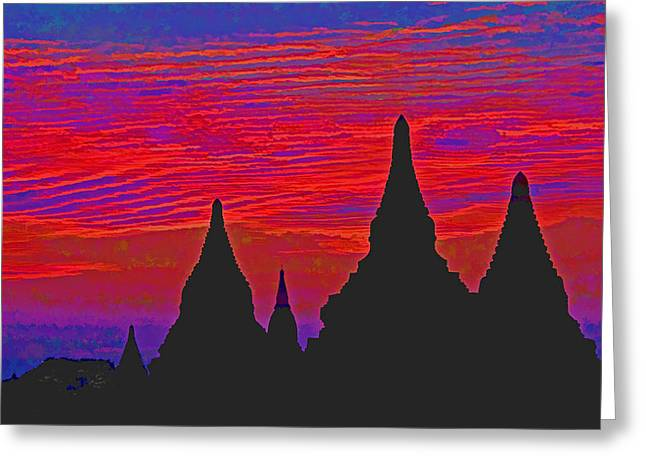 Temple Silhouettes Greeting Card by Dennis Cox