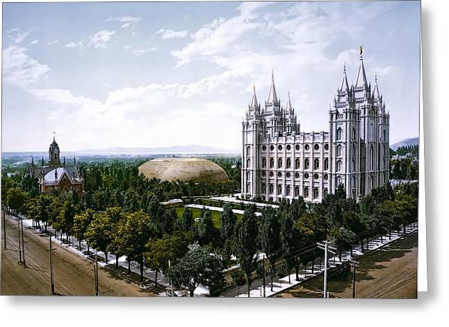 Temple Square - Salt Lake City - 1899 Greeting Card by Daniel Hagerman