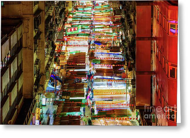 Temple Street Market In Hong Kong Greeting Card by Christian Mueller