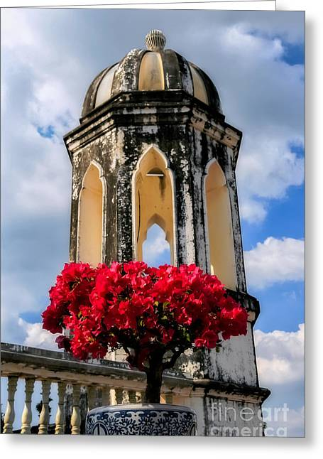 Temple Tower Greeting Card by Adrian Evans