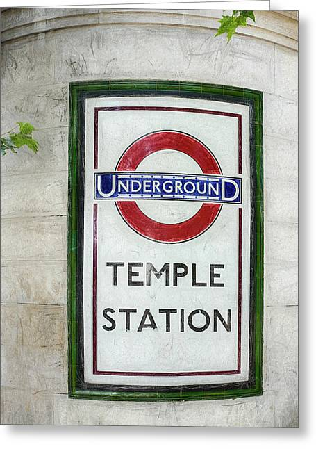 Temple Underground Station Sign Greeting Card