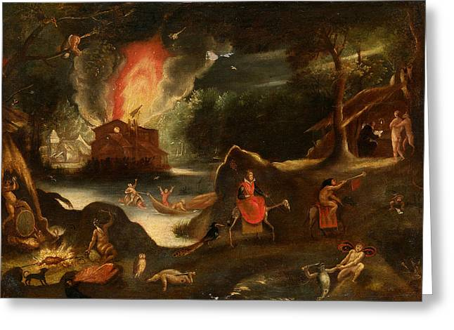 Temptation Of Saint Anthony Greeting Card by Jacob van Swanenburgh
