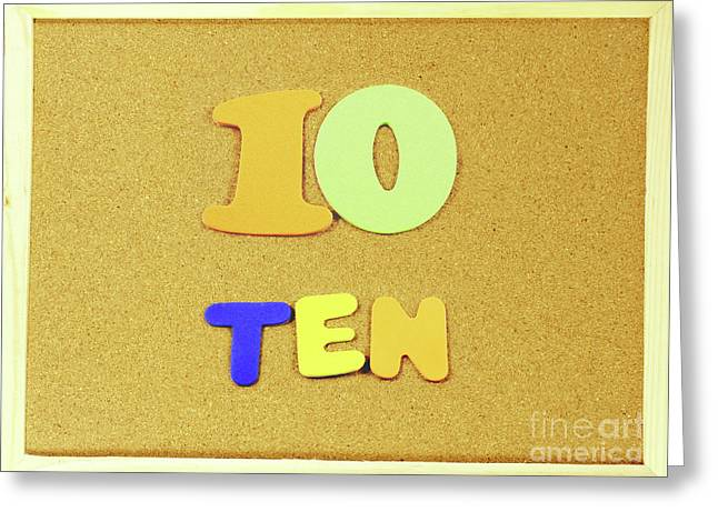 Ten Number And Word On A Corkboard Greeting Card