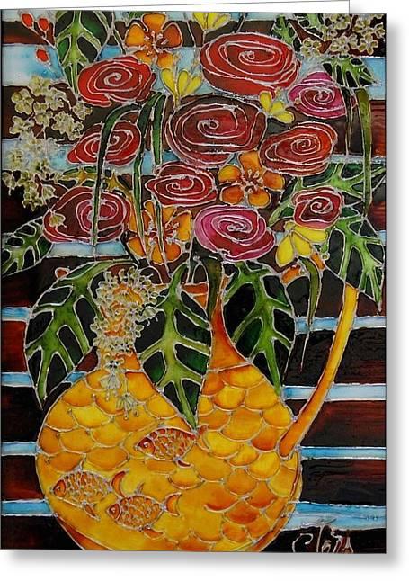 Ten Roses On A Bench Greeting Card by Cornelia Tersanszki