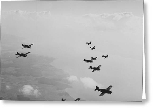Ten Wildcats In Flight Over The Coast  Greeting Card