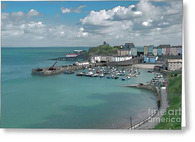 Tenby Harbour Ink Painting Greeting Card by Steve Purnell