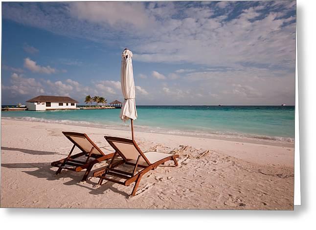 Tender Evening Sun. Maldivian Beach Greeting Card by Jenny Rainbow