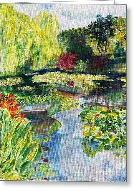 Greeting Card featuring the painting Tending The Pond by Mary K Conaboy