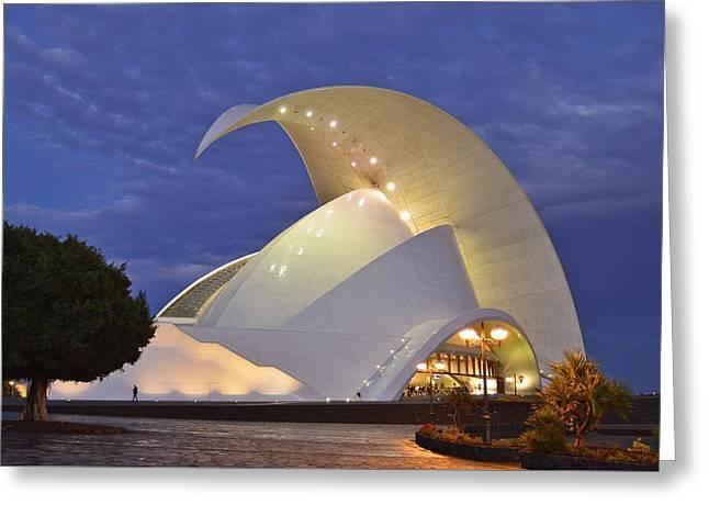 Tenerife Auditorium At Dusk Greeting Card by Marek Stepan