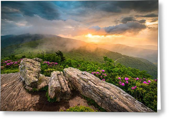 Tennessee Appalachian Mountains Sunset Scenic Landscape Photography Greeting Card