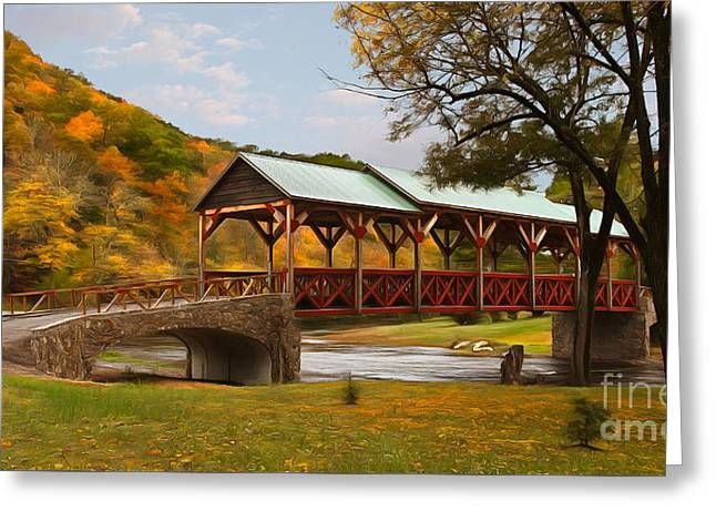 Tennessee Bridge In Autumn On The Cherohala Skyway Ap Greeting Card