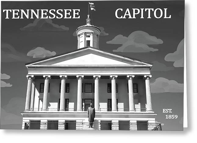 Tennessee Capitol Building Graphic Greeting Card by Dan Sproul