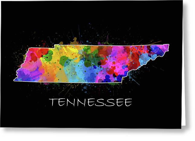 Tennessee Map Color Splatter 2 Greeting Card