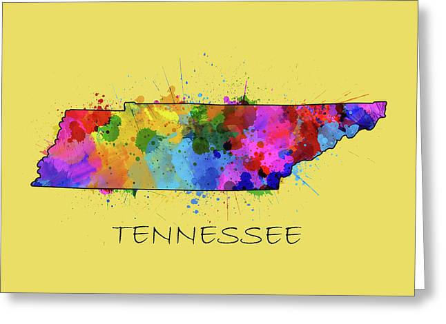Tennessee Map Color Splatter 4 Greeting Card