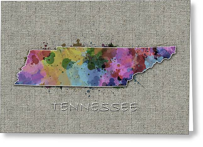 Tennessee Map Color Splatter 5 Greeting Card