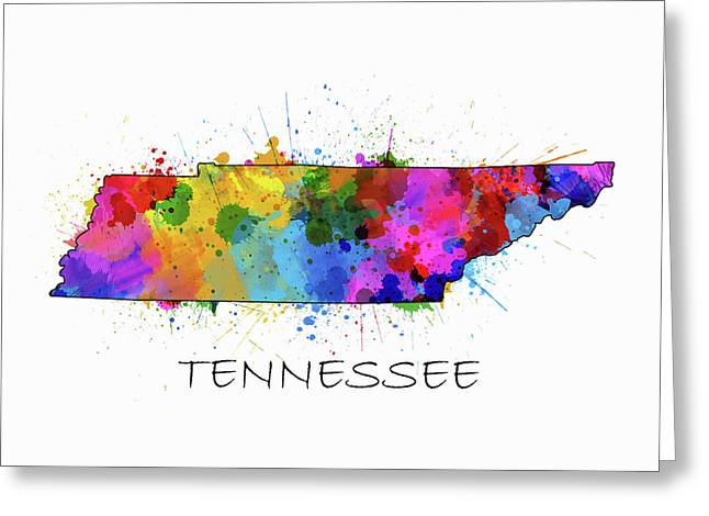 Tennessee Map Color Splatter Greeting Card