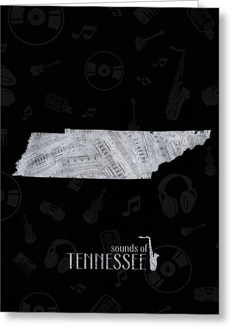 Tennessee Map Music Notes 2 Greeting Card