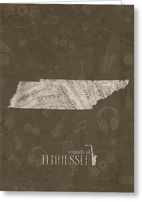 Tennessee Map Music Notes 3 Greeting Card